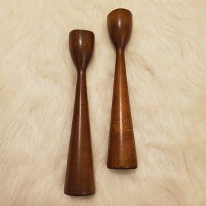 Vintage MCM Sleek Polished Wood Candle Holder Set